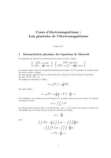 Cours d'électromagnétisme : Lois générales de l'électromagnétisme