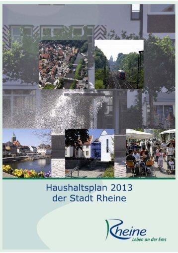 Haushaltsplan der Stadt Rheine für das Jahr 2013