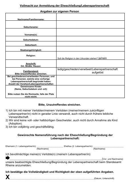 Vollmacht Zur Anmeldung Der Eheschließung 1 2 Rheine