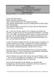 Grußwort zum Tag der Arbeit 2012 - Rheine