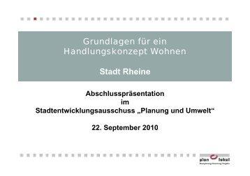 Handlungskonzept Wohnen der Stadt Rheine -Präsentation