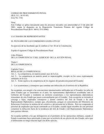 Código de Procedimiento Penal: Ecuador - Setec