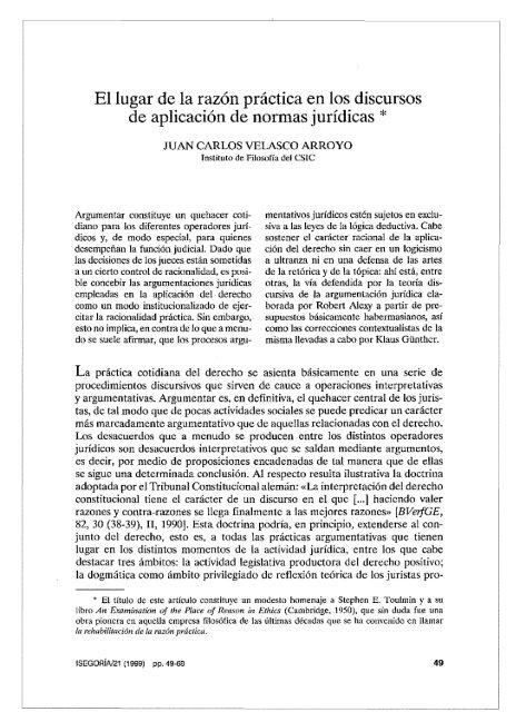 Argumentación Jurídica Isegoría 1999 Pdf