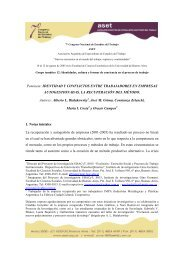 Identidad y conflictos entre trabajadores en empresas ... - ASET