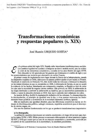 Transformaciones económicas y respuestas populares (s. XIX)