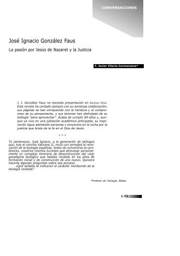 CONVERSACIONES CON... José Ignacio González Faus - Iglesia Viva