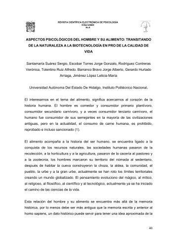 aspectos psicológicos del hombre y su alimento - Universidad ...