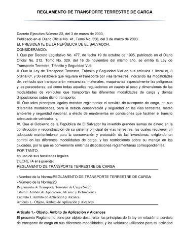 reglamento de transporte terrestre de carga - sertracen