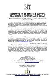 INSTITUTO NT DE CINEMA E CULTURA TRANSMITE ... - Phosphoros