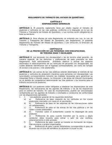 Reglamento de Tránsito del Estado de Querétaro - Orden Jurídico ...