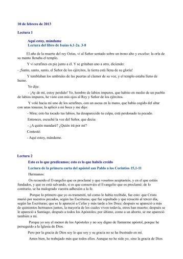 10 de febrero de 2013 Lectura 1 Aquí estoy, mándame Lectura del ...