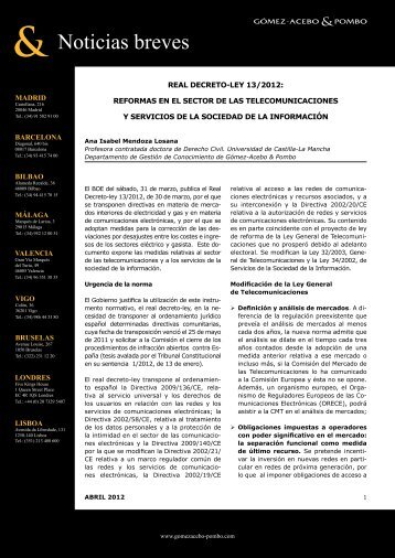 Real Decreto-Ley 13/2012 - Gómez-Acebo & Pombo
