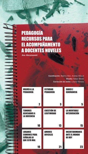 Pedagogía Recursos para el acompañamiento de docentes noveles