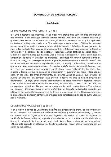 DOMINGO 3º DE PASCUA - CICLO C - Jesuitas de Loyola
