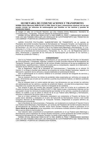 NORMA Oficial Mexicana NOM-012-SCT-2-1995 - ICAVE