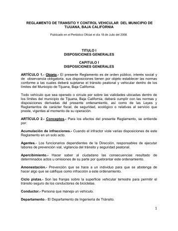 Reglamento de Tránsito y Control Vehicular del Municipio ... - Tijuana