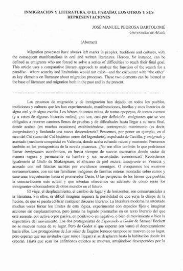 INMIGRACIÓN Y LITERATURA, O EL PARAÍSO, LOS OTROS Y ...