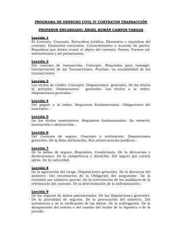 PROGRAMA DE DERECHO CIVIL IV CONTRATOS TRANSACCIÓN ...