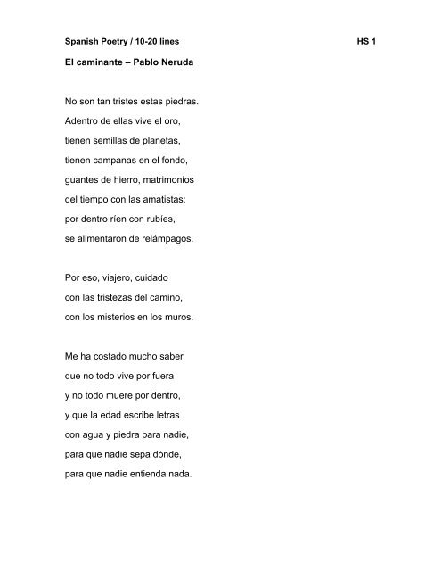 El Caminante Pablo Neruda No Son Tan Tristes Estas Piedras