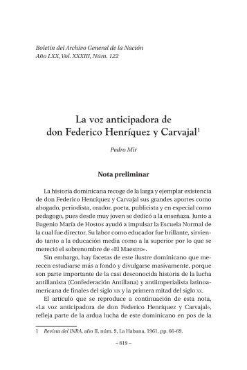La voz anticipadora de don Federico Henríquez y Carvajal - BAGN