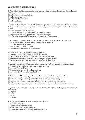 conhecimentos específicos - Concursos - URI Santiago