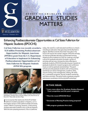 GRADUATE sTUDiEs mATTERs - California State University, Fullerton