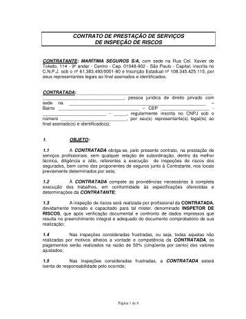 CONTRATO DE PRESTAÇÃO DE SERVIÇOS ... - Marítima Seguros