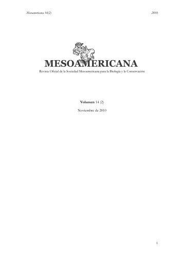 Volumen 14 (2) Noviembre de 2010 - Sociedad Mesoamericana ...