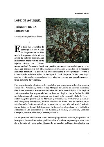 LOPE DE AGUIRRE, PRÍNCIPE DE LA LIBERTAD