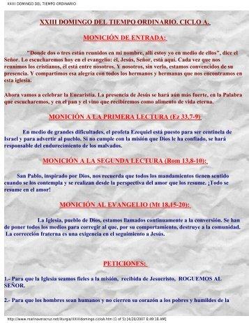 XXIII Domingo del Tiempo Ordinario, Ciclo A - Autores Catolicos