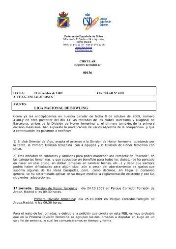 asuntos varios liga nacional bowling - Federacion Española de Bolos