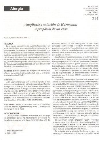 Alergia Anafilaxis asolución deHartmann: A propósito de un caso