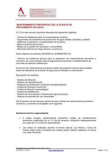 MANTENIMIENTO PREVENTIVO DE LA PLANTA DE ... - Aquimisa