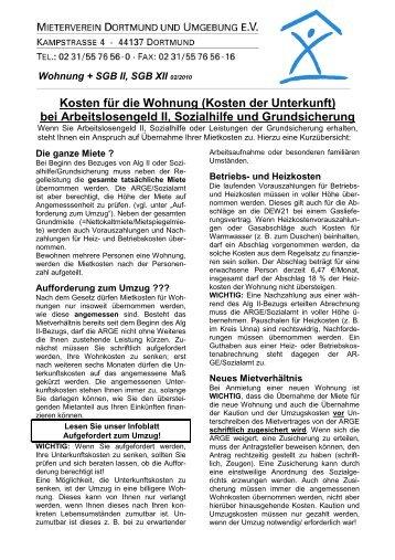 Kosten der Unterkunft - Arbeitslosenzentrum Dortmund ev