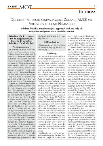 Minimal invasive OP (R. Haaker, 2007)