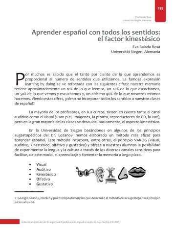 el factor kinestésico - Centro Virtual Cervantes