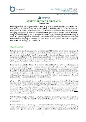 ANÁLISIS TÉCNICO de SIDERAR SA - Jorge Fedio - Analista