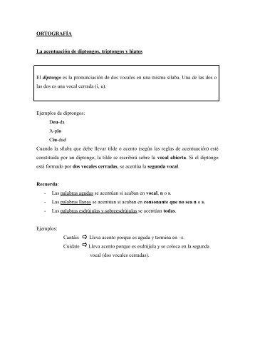 ORTOGRAFÍA La acentuación de diptongos, triptongos y hiatos ...