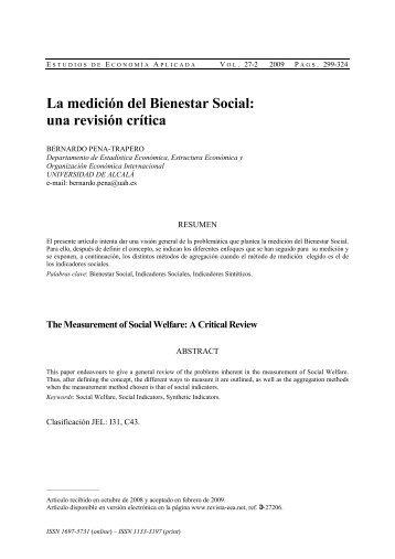 La medición del Bienestar Social: una revisión crítica - Estudios de ...