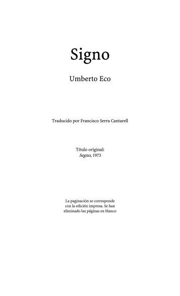 Signo. Umberto Eco. - microclima