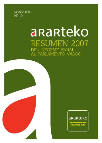 Resumen del informe anual 2007 - Ararteko