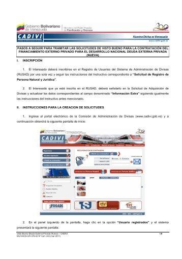 Instructivo Deuda Externa Privada Visto Bueno - Cadivi