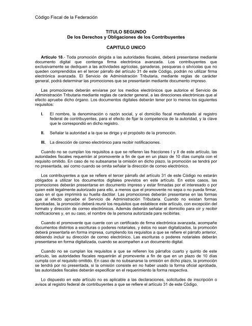 Artículos 18 y 19 Código Fiscal de la Federación pdf - SAT