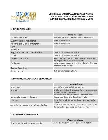 CURRICULUM VITAE - Escuela Nacional de Trabajo Social - UNAM