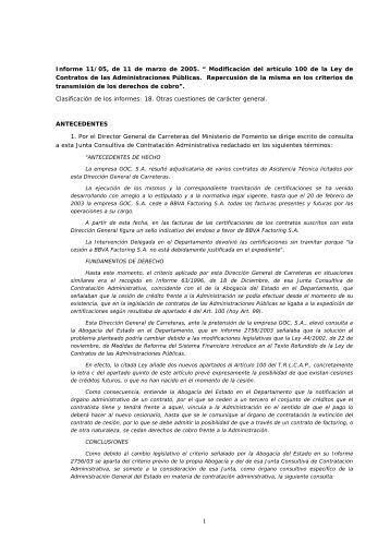 """Informe 11/05, de 11 de marzo de 2005. """" Modificación del artículo ..."""