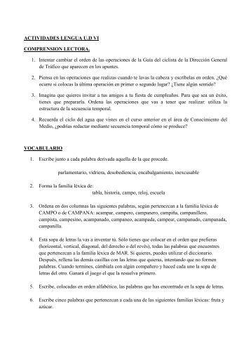 ACTIVIDADES LENGUA U.D VI COMPRENSION LECTORA. 1 ...