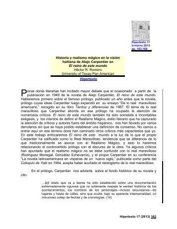 Historia y realismo mágico en la visión haitiana de Alejo Carpentier ...