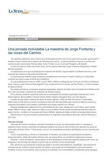 Una jornada inolvidable La maestría de Jorge Fontenla y las voces ...