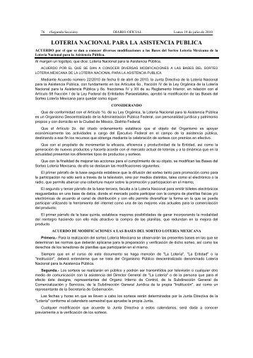 LOTERIA NACIONAL PARA LA ASISTENCIA PUBLICA - Diario-o