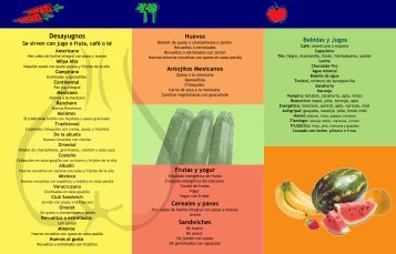Carta desayunos - Yug Vegetariano